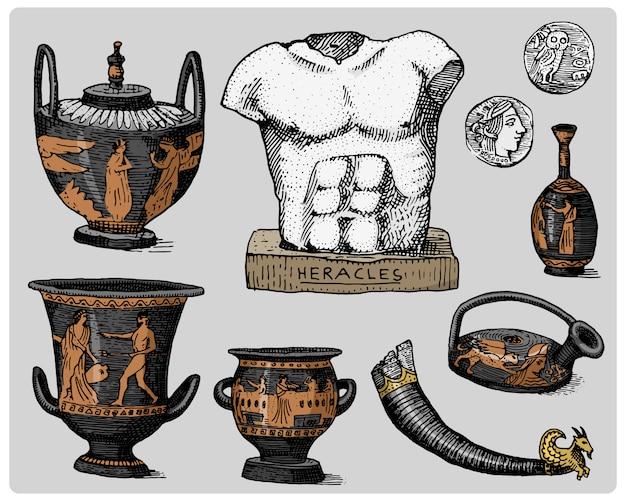 Starożytna grecja, antyczne symbole, monety greckie, rzeźba heraklesa, anphora vintage, grawerowane ręcznie rysowane w stylu szkicu lub cięcia drewna, stary wygląd retro, na białym tle realistyczne ilustracje.