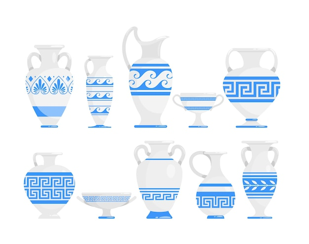 Starożytna grecja garnki i miski. naczynia kuchenne z ornamentem na białym tle elementy projektu