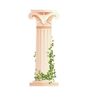 Starożytna grecka kolumna z gałęziami pnącymi bluszcz rzymski filar elementy projektu budowlanego
