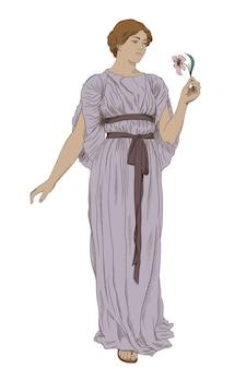 Starożytna greka ubrana w tunikę z kwiatkiem w dłoni.