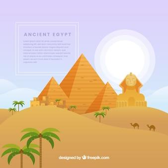 Starożytna kompozycja egipska z płaskiej konstrukcji