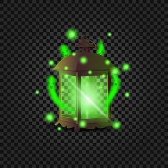Starożytna latarnia z duchami. zielona latarnia z małymi zielonymi duchami w środku.