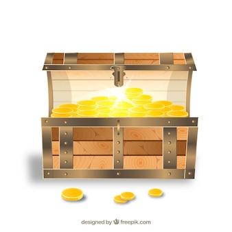 Starożytna skrzynia skarbów o realistycznym designie