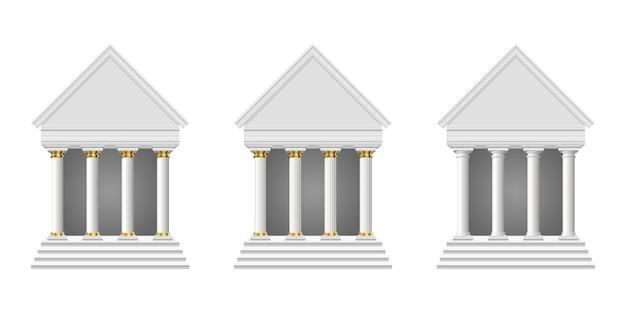 Starożytna świątynia na białym tle