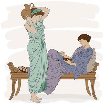 Starożytne greckie kobiety w tunikach rozmawiają w sypialni