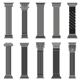Starożytne greckie kolumny. klasyczne rzymskie i greckie architektoniczne kamienne filary na białym tle zestaw