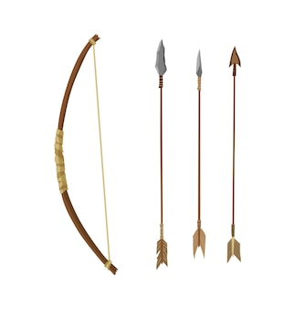 Starożytne kamienne narzędzie do polowania lub pracy. kreskówka łuk ze strzałami, instrument prehistoryczny jaskiniowiec. ilustracja wektorowa narzędzia kultury prymitywnej w stylu płaski na białym tle