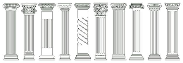 Starożytne klasyczne filary. filary architektury greckiej i rzymskiej, zestaw ilustracji historycznych kolumn architektonicznych