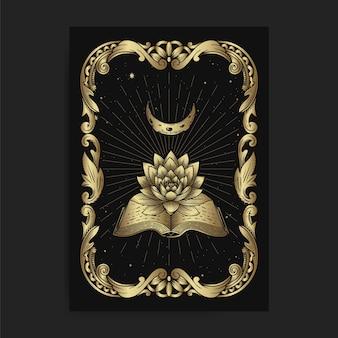 Starożytne książki i księżycowy lotos z grawerowaniem, ręcznie rysowanym, luksusowym, ezoterycznym, stylem boho, nadającym się do zjawisk paranormalnych, czytnika tarota, astrologa lub tatuażu
