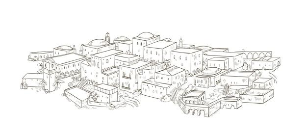 Starożytne miasto ze starymi budynkami architektury orientalnej ręcznie rysowane z liniami konturu na białym tle. monochromatyczny rysunek jerozolimy lub bagdadu. piękny pejzaż miejski. ilustracja