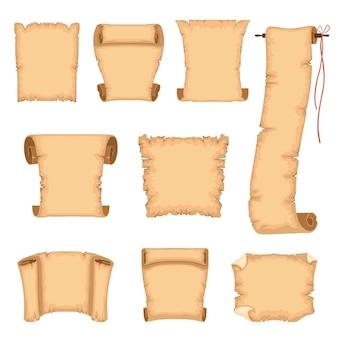 Starożytne pergaminy ilustracje na białym tle na białym tle