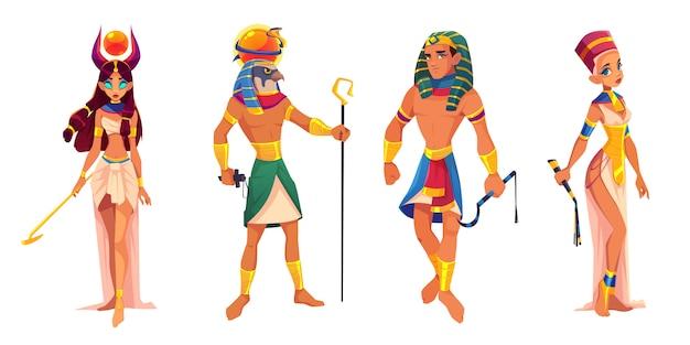 Starożytni bogowie i władcy egiptu hathor, ra, faraon, nefertiti, egipskie bóstwa, król i królowa z atrybutami religii