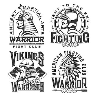 Starożytni wojownicy, maskotka do walki z projektowaniem odzieży klubowej. samuraj, wiking, indyjski szef kuchni i średniowieczny rycerz izolowali etykiety z typografią.