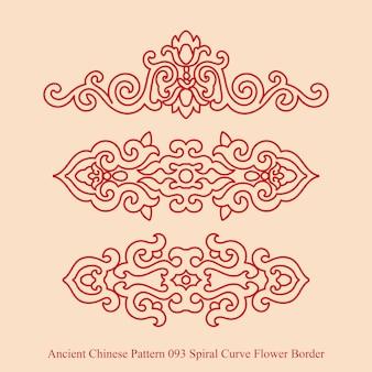 Starożytny chiński wzór granicy kwiat spirali krzywej
