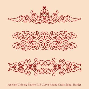 Starożytny chiński wzór krzywej okrągłej krzyża spiralnej granicy