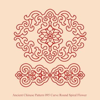 Starożytny chiński wzór krzywej okrągłej spirali kwiat