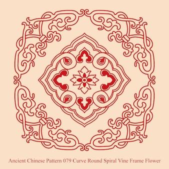 Starożytny chiński wzór krzywej okrągłej spirali winorośli kwiat ramki