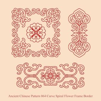 Starożytny chiński wzór krzywej spirali kwiat obramowania ramki