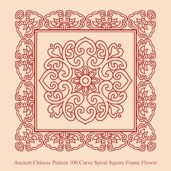 Starożytny chiński wzór krzywej spirali kwiat ramki kwadratowej