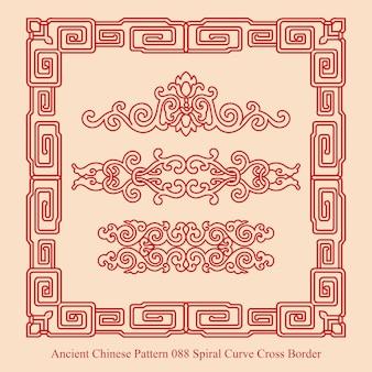 Starożytny chiński wzór krzywej spiralnej krzyż