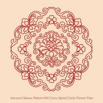 Starożytny chiński wzór krzywej spiralnej winorośli koło kwiat