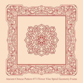 Starożytny chiński wzór kwiat winorośli spirala geometria ramki