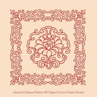 Starożytny chiński wzór kwiatu ramki krzywej spirali