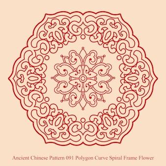 Starożytny chiński wzór kwiatu wielokąta krzywej spirali
