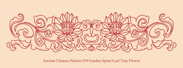 Starożytny chiński wzór kwiatu winorośli liści spirali ogrodowej