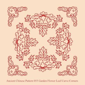 Starożytny chiński wzór narożników krzywej liści kwiatów ogrodowych