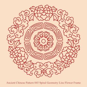 Starożytny chiński wzór ramki kwiat linii geometrii spirali