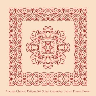 Starożytny chiński wzór spirali geometrii kraty kwiat ramki