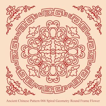 Starożytny chiński wzór spirali geometrii okrągłe ramki kwiat