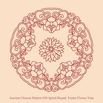 Starożytny chiński wzór spirali okrągłe ramki kwiat winorośli