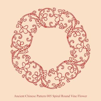Starożytny chiński wzór spirali okrągły kwiat winorośli