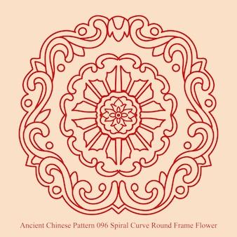 Starożytny chiński wzór spiralnej krzywej okrągłe ramki kwiatowe