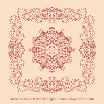 Starożytny chiński wzór spiralnej natury kwiat winorośli ramki