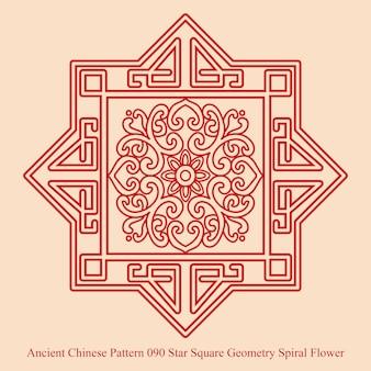 Starożytny chiński wzór star square geometry spiral flower