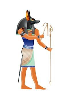 Starożytny egipski bóg anubis. bóstwo z psią głową. ilustracja kreskówka w starym stylu sztuki.