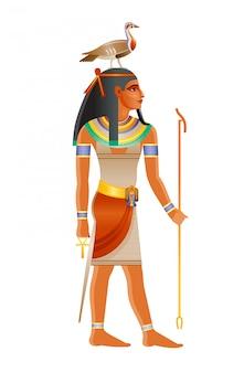 Starożytny egipski bóg geb. bóstwo ziemi z gęsią na głowie. starożytny egipski bóg