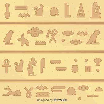 Starożytny egipt hieroglyphics tło z płaska konstrukcja