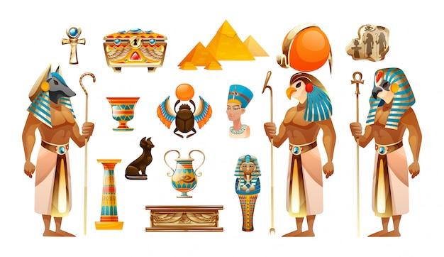 Starożytny egipt zestaw ilustracji