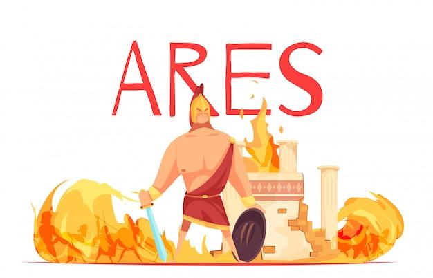 Starożytny grecki olimpijski bóg wojny jest w hełmie z mieczem wśród bitewnej płaskiej kreskówki