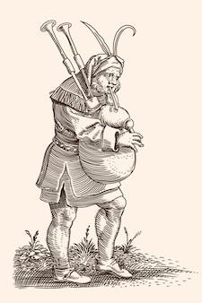 Starożytny muzyk grający na mosiężnym instrumencie gra muzykę na dudach
