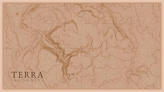 Starożytny streszczenie ziemi ulga stara mapa. wygenerowano koncepcyjną mapę wysokościową krajobrazu fantasy.