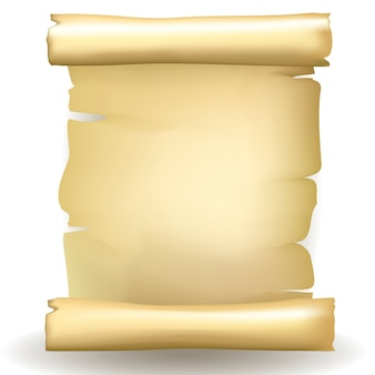 Starożytny wektor pusty starzejący się zwój papieru z pożółkłym zabarwieniem i postrzępione podarte krawędzie