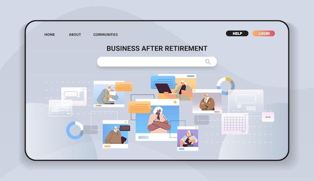 Starsi biznesmeni dyskutują podczas wideokonferencji starsi ludzie biznesu w oknach przeglądarki internetowej czat z bąbelkami komunikacji