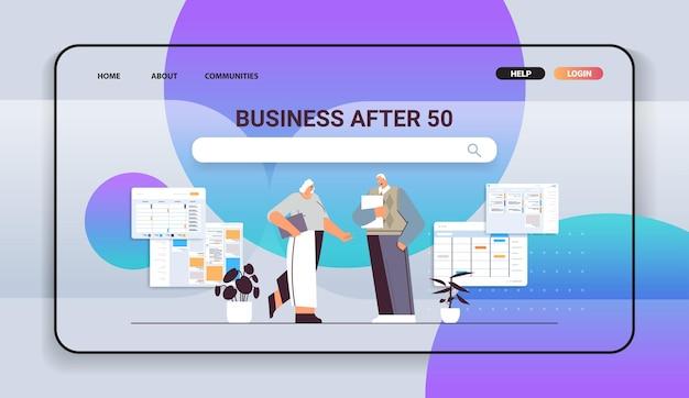 Starsi biznesmeni omawiający podczas spotkania biznes mężczyzna kobieta para w formalnym stroju pracują razem starość koncepcja pełnej długości poziomej ilustracji wektorowych