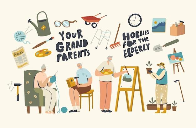 Starsi bohaterowie płci męskiej i żeńskiej spędzają czas w domu, angażując się w robienie ptaszarni, malowanie, robienie na drutach i ogrodnictwo. starsi mężczyźni i kobiety wwypoczynku, zabawie. ilustracja wektorowa ludzi liniowych