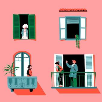 Starsi i młodzi ludzie spędzają czas na balkonach